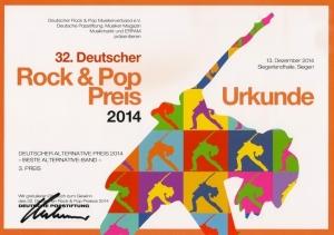 Urkunde Rock Pop Preis